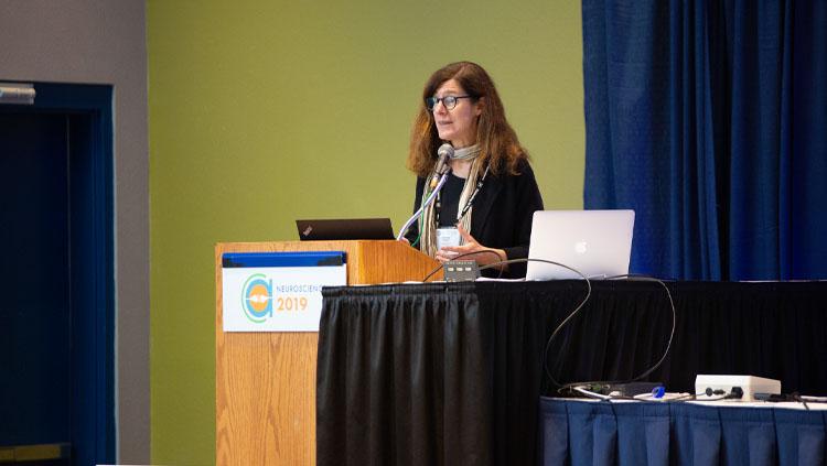A panelist speaks at a podium at a professional development workshop at Neuroscience 2019.