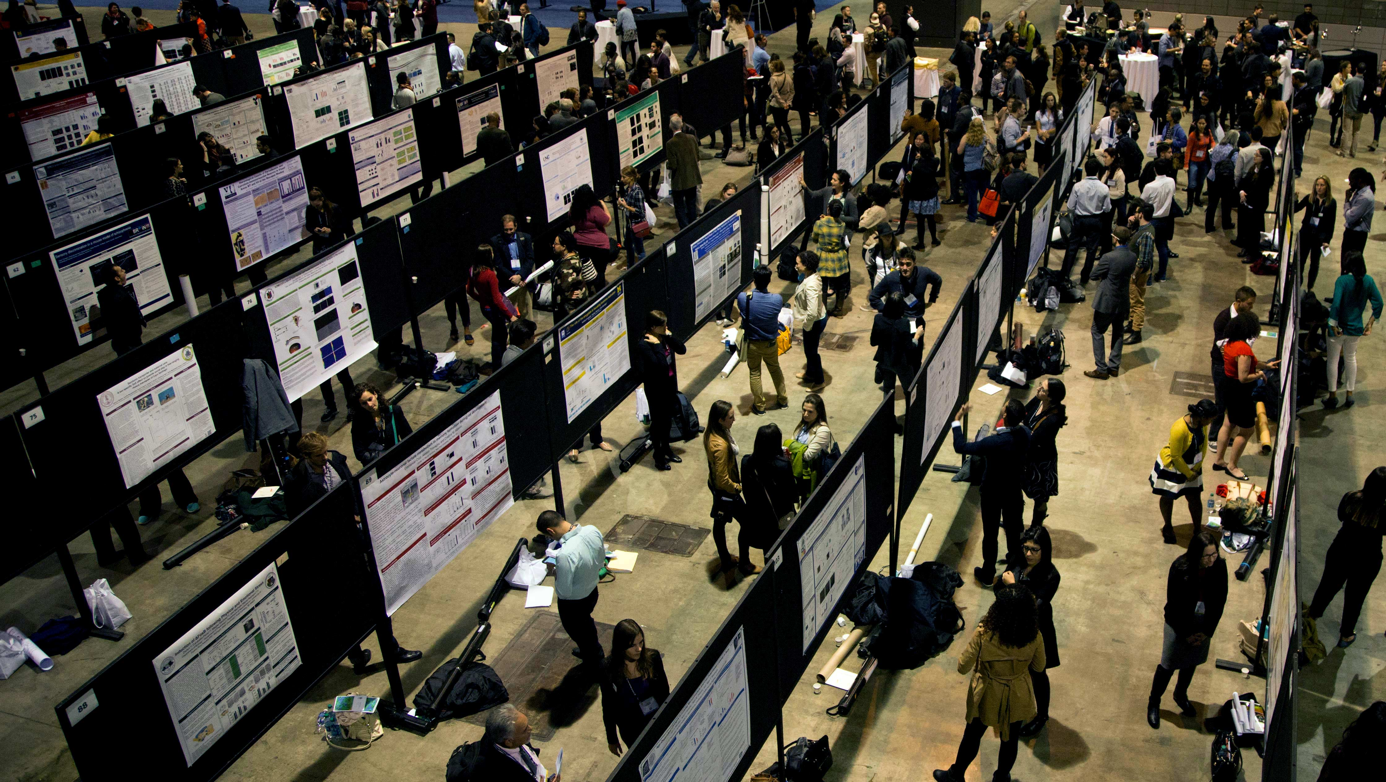 Male and female neuroscientists present their research findings at a conference via posters set up in rows.
