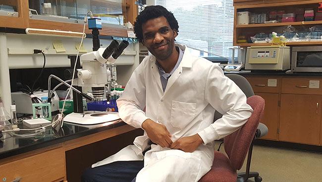 Hakeem Lawal in his lab.
