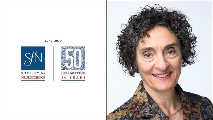 Headshot of Carla Shatz next to the SfN 50th anniversary logo