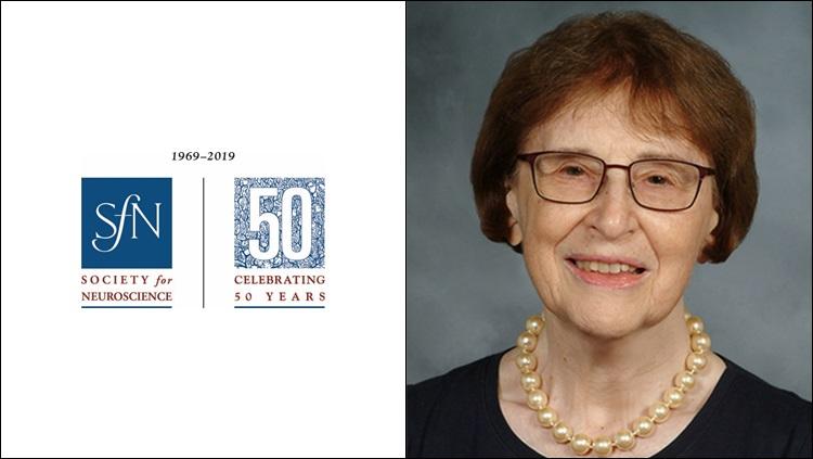 Headshot of Bernice Grafstein next to the SfN 50th anniversary logo