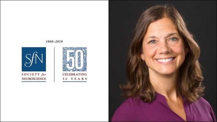 Headshot of Marina Picciotto next to the 50th anniversary SfN logo