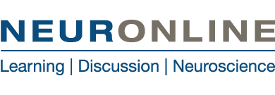 """Neuronline logo with Neuronline written in blue and gold text. Below the word Neuronline reads """"Learning,  Discussion, Neuroscience"""""""
